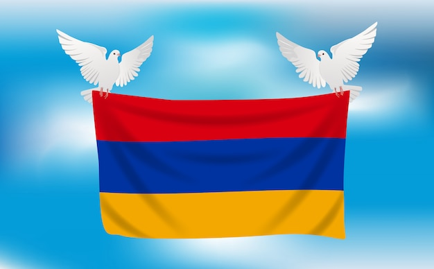 Bandiera dell'armenia con piccioni bianchi