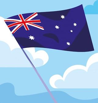 Bandiera dell'australia che ondeggia su un bastone