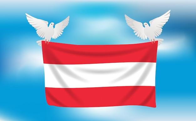 Bandiera dell'austria con piccioni bianchi