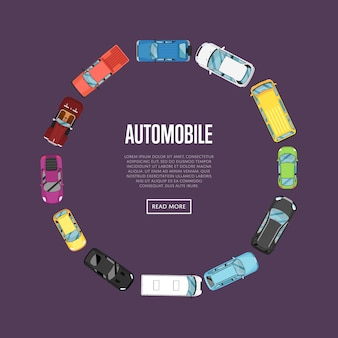 Bandiera dell'automobile con le automobili di vista superiore