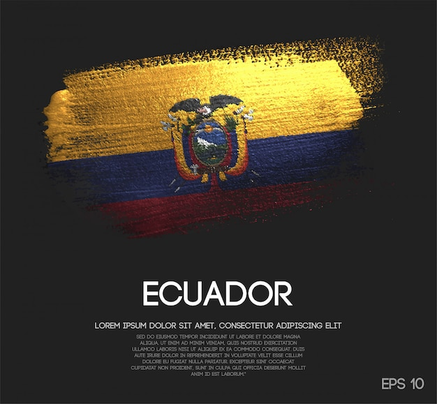Bandiera dell'ecuador realizzata con glitter scintillio pennello