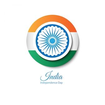 Bandiera dell'india sotto forma di un pulsante rotondo