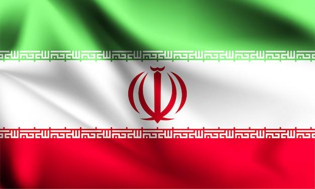 Bandiera dell'iran che ondeggia con il vento, illustrazione 3d