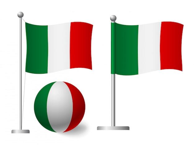 Bandiera dell'italia sull'icona palo e palla