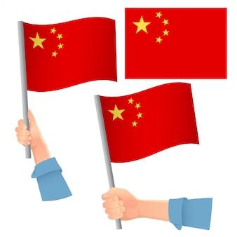 Bandiera della cina in mano insieme