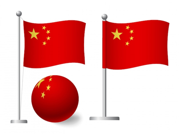 Bandiera della cina sull'icona palo e palla