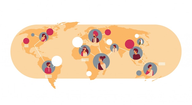 Bandiera della comunicazione globale delle bolle di chiacchierata della mappa di mondo dell'avatar degli indiani