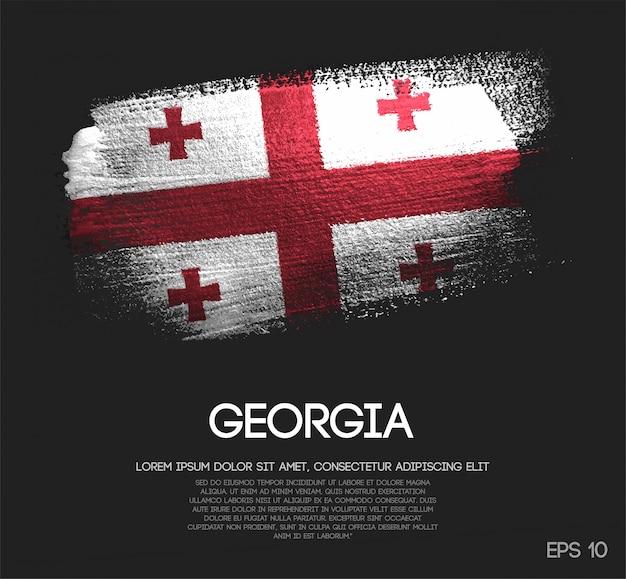 Bandiera della georgia realizzata con glitter scintillio pennello