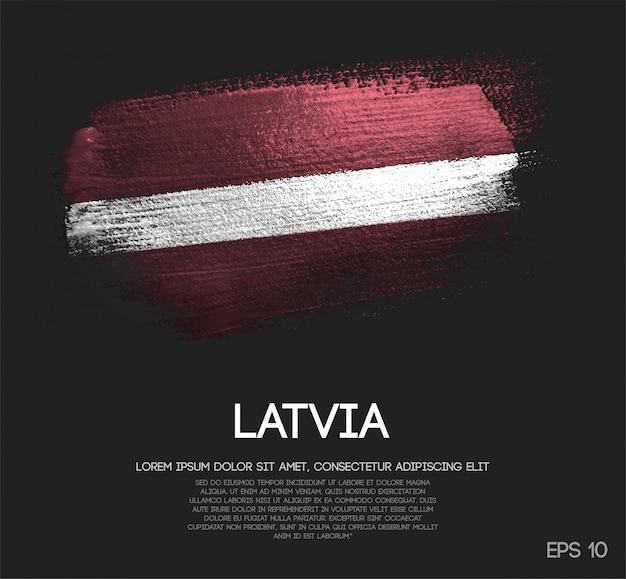 Bandiera della lettonia realizzata con glitter scintillio pennello