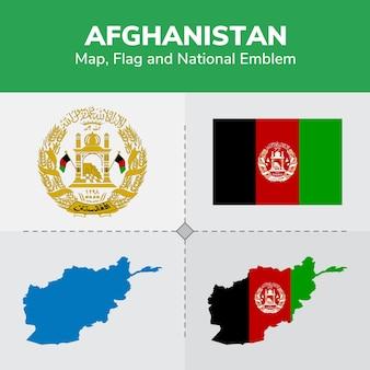 Bandiera della mappa dell'afghanistan ed emblema nazionale