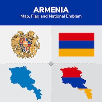 Bandiera della mappa di armenia e emblema nazionale