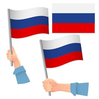 Bandiera della russia in mano insieme