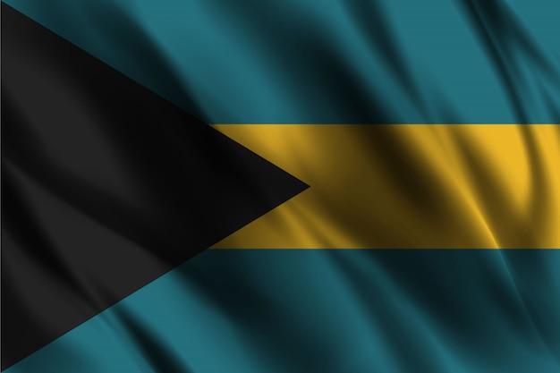 Bandiera delle bahamas galleggiante sfondo di seta