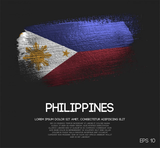 Bandiera delle filippine fatta di glitter scintillio pennello