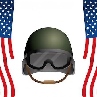 Bandiera dello stato unito con elmetto militare