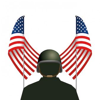 Bandiera dello stato unito con soldato e casco