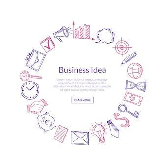 Bandiera di affari con le icone in cerchio