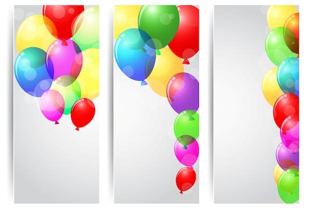 Bandiera di celebrazione di compleanno con palloncini colorati