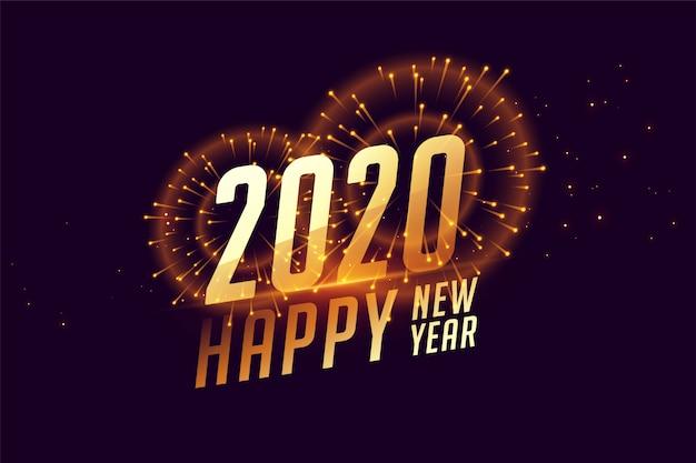 Bandiera di celebrazione di felice anno nuovo 2020 con fuochi d'artificio