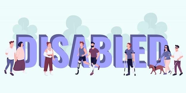 Bandiera di colore di concetti di parola disabili. tipografia con piccoli personaggi dei cartoni animati. persone con disabilità e lesioni stile di vita attivo illustrazione creativa sull'azzurro