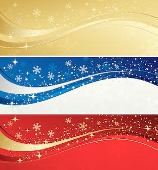 Bandiera di colore di natale con fiocchi di neve
