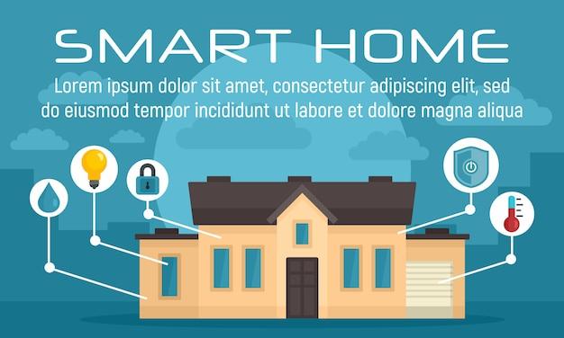 Bandiera di concetto di casa intelligente di lusso