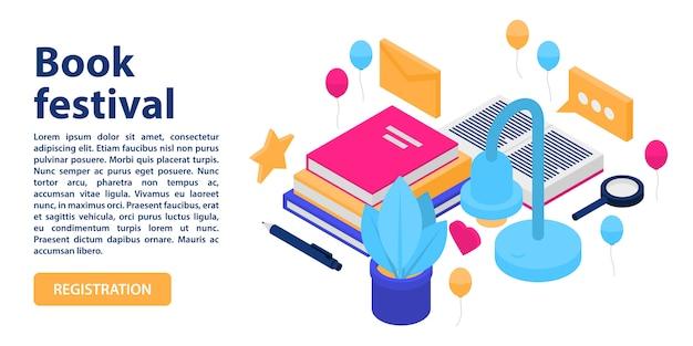 Bandiera di concetto di festival del libro, stile isometrico