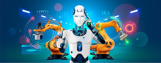 Bandiera di concetto di industria 4.0. robot con linea di produzione controllo ai su smart factory