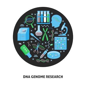 Bandiera di concetto di ricerca del genoma del dna
