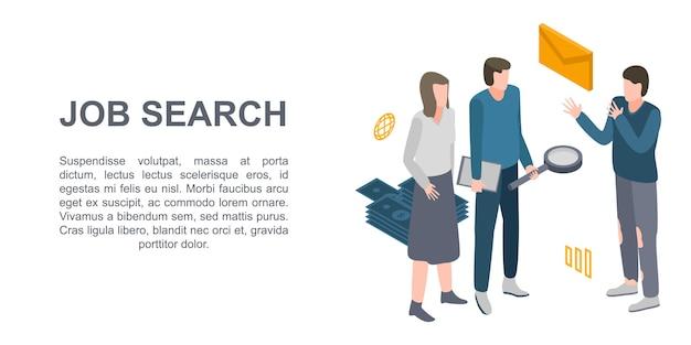 Bandiera di concetto di ricerca di lavoro, stile isometrico