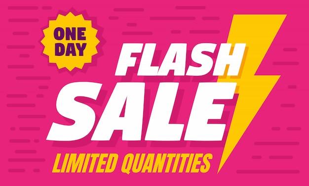 Bandiera di concetto di vendita flash di un giorno, stile piano