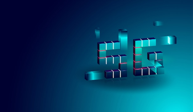 Bandiera di concetto isometrico tecnologia 5g con scatola galleggiante 3d.