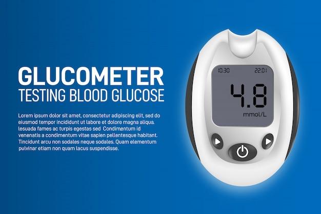 Bandiera di concetto per la misurazione della glicemia con un glucometro. modello di dispositivo medico di arte design.