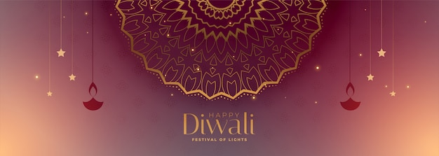 Bandiera di diwali felice tradizionale bella con motivo a mandala