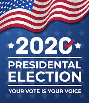 Bandiera di elezioni presidenziali degli stati uniti d'america 2020. banner elettorale vota il 2020 con la bandiera americana