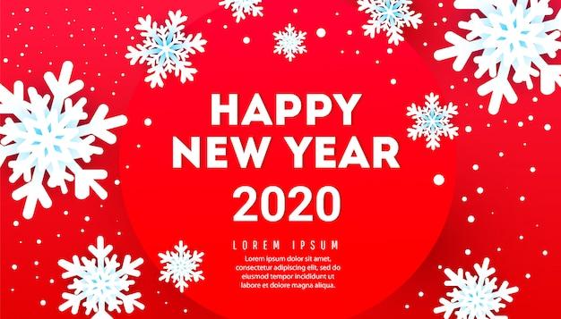 Bandiera di felice anno nuovo con fiocchi di neve e testo su uno sfondo rosso