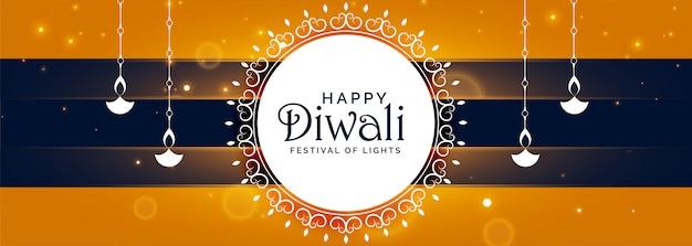 Bandiera di festival decorativo felice di diwali con diya