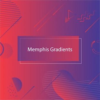 Bandiera di forme geometriche astratte rosso-blu in stile memphis.