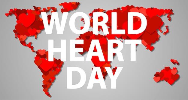Bandiera di giornata internazionale del cuore, stile cartoon