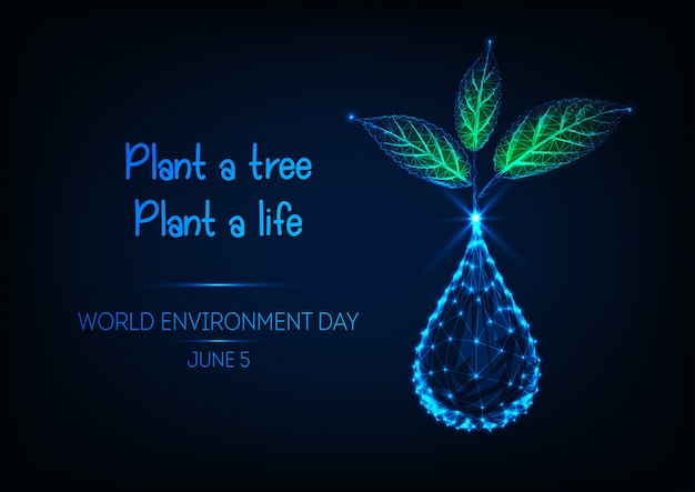 Bandiera di giornata mondiale dell'ambiente con goccia d'acqua