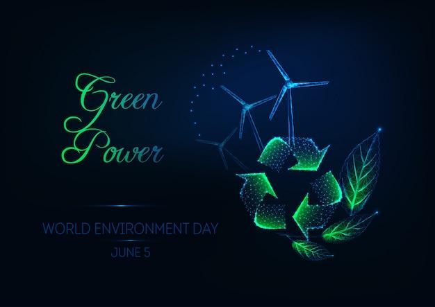 Bandiera di giornata mondiale dell'ambiente con segno di riciclo
