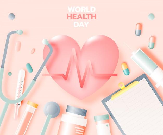 Bandiera di giornata mondiale della salute in stile arte carta