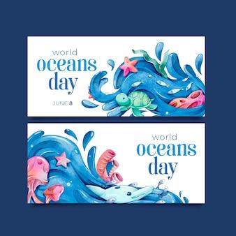Bandiera di giorno degli oceani del mondo dell'acquerello