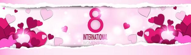 Bandiera di giorno delle donne impilate di cuori e luci