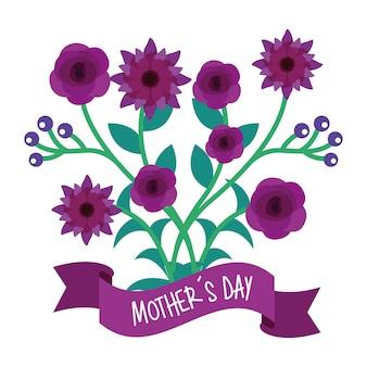 Bandiera di giorno di madri naturali fiori e rami viola