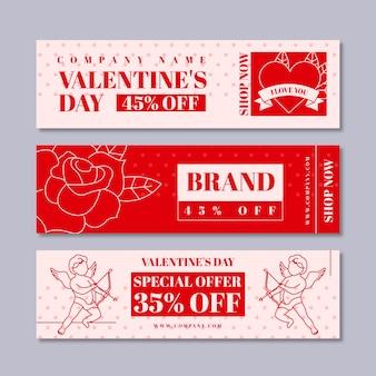 Bandiera di grande vendita di san valentino design piatto