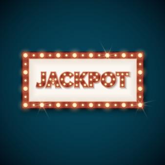 Bandiera di jackpot con retro cornice luminosa illustrazione vettoriale