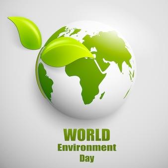 Bandiera di mondo ambiente giorno con globo terrestre