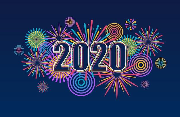Bandiera di nuovo anno 2020 con fuochi d'artificio. sfondo di fuochi d'artificio vettoriale.