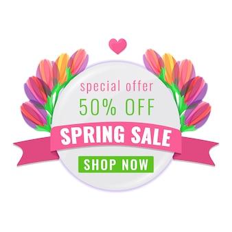 Bandiera di offerta speciale di vendita di primavera con nastro e fiori di tulipani colorati in fiore.